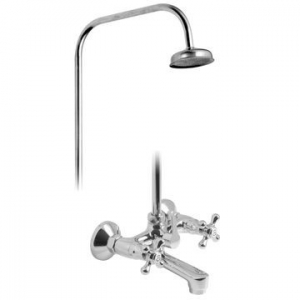 Vic-Side Bath Shower Mixer with Rigid Riser Wall Mounted Chrome