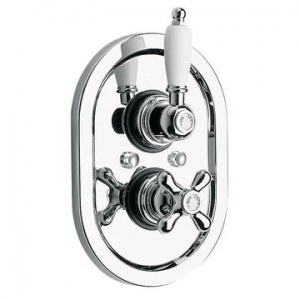 Concealed 1 Outlet Thermostatic Shower Valve Only Chrome/White
