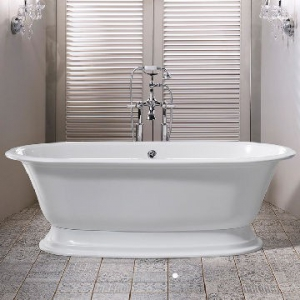 Elwick Freestanding Dbl-Ended Bath w/Plinth & Overflow 1902x910x622mm White