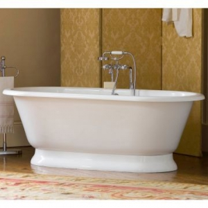 York Freestanding Bath with Overflow & York Base with Overflow 1750x800x618mm White