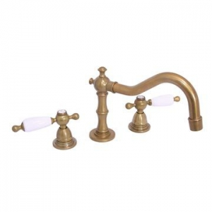 VADO - Kensington - White Lever - Mixer - Basin, 3 Hole, Pillar-Mounted - Antique Brass