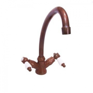 VADO - Kensington - White Lever - Mixer - Sink, 2-Handle, Deck Mounted, One-Hole - Aged Copper