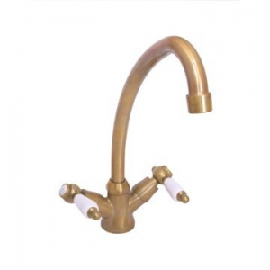 VADO - Kensington - White Lever - Mixer - Sink, 2-Handle, Deck Mounted, One-Hole - Antique Brass