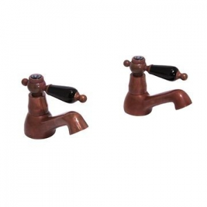 VADO - Kensington - Black Lever - Tap - Bath Pillar Taps (Pair) - Aged Copper